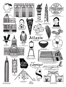Poster of Atlanta's Landmarks of Turner Field, Clermont Lounge, MLK, Terminus, Fox Theatre, Varsity print by Atlanta based illustrator Sarah Neuburger