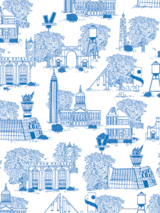 Atlanta, GA Toile Pattern print by Atlanta based illustrator Sarah Neuburger