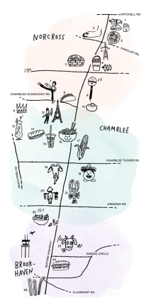 Illustrated Map of Buford Highway by illustrator Sarah Neuburger