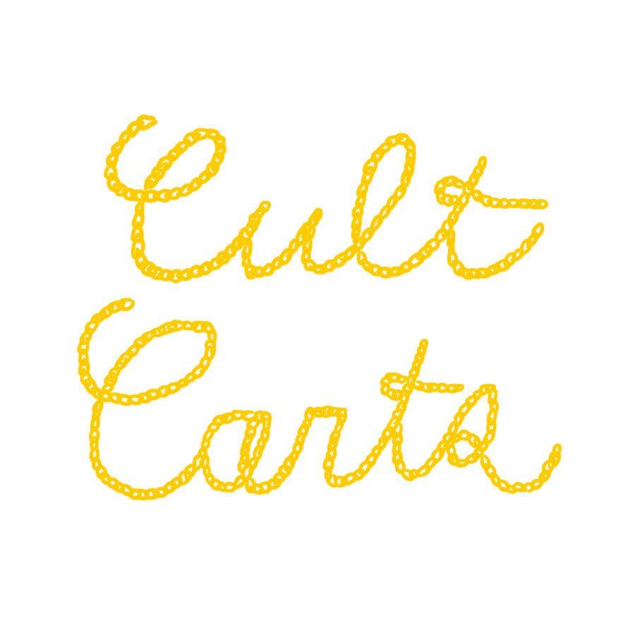 chain stitch lettering CULT CARTS