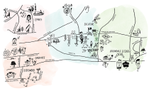 Illustrated Map of Decatur, GA by local illustrator Sarah Neuburger
