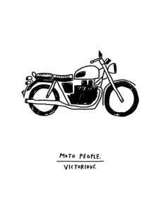 Moto People Victorious Motorcycle Victory print by Atlanta based illustrator Sarah Neuburger
