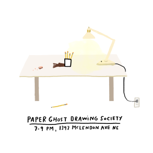 Paper Ghost Drawing Society Instagram Announcement by Atlanta based illustrator Sarah Neuburger