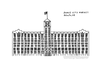 Drawing of Ponce City Market by Atlanta based illustrator Sarah Neuburger