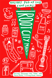 Root City Market Holiday Postcard by Atlanta based illustrator Sarah Neuburger