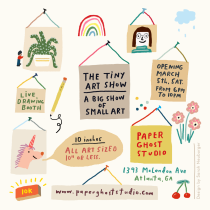 The Tiny Art Show Postcard Flyer by Atlanta based illustrator Sarah Neuburger