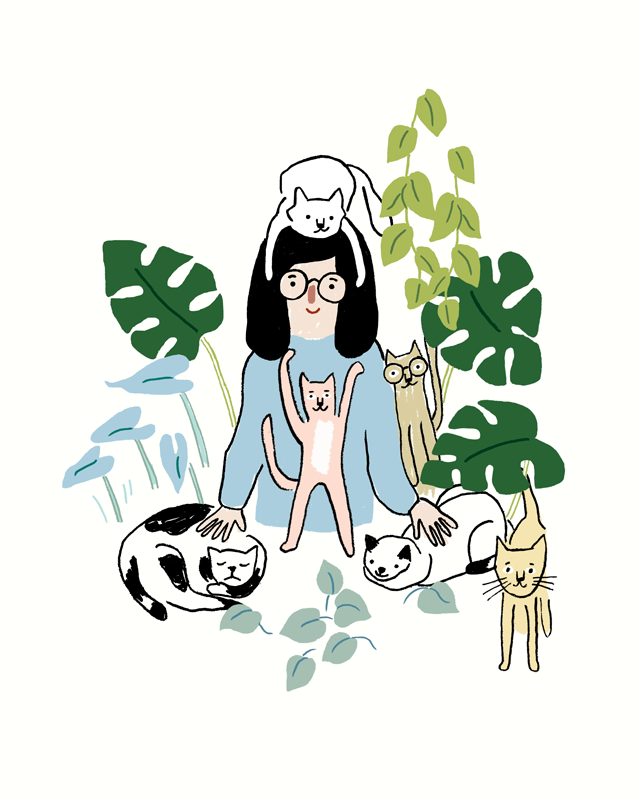 cat drawings with plants