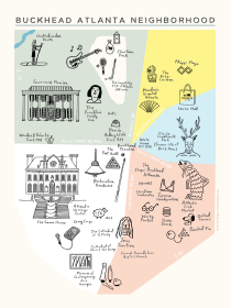 Sarah Neuburger Atlanta Illustrator Buckhead ATL illustrated map poster art print modern paper ghost studio