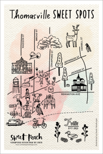 thomasville-sweet-spotsSarah Neuburger Atlanta Illustrator Thomasville Illustrated Map Postcard Icons