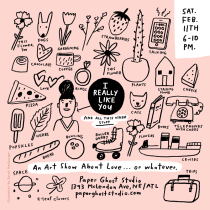Sarah Neuburger Atlanta Illustrator Valentines Show Flyer Candler Park Paper Ghost Studio Pink Black White I Really Like You