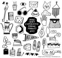 Sarah Neuburger Atlanta Illustrator Indie Craft Experience ICE Tote Bag Promo Branding Poster Design Drawing