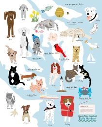 Sarah Neuburger Atlanta Illustrator Illustration Drawing Dog Cat Humane Society Fundraiser Tea Towel Map