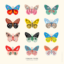 Sarah Neuburger Inman Park Art Print Butterflies Poster Atlanta Illustrator Drawing