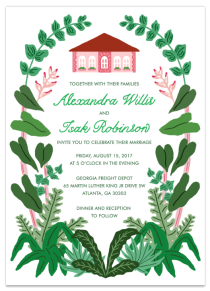 Sarah Neuburger Atlanta Illustrator Custom Wedding Invitation Georgia Freight Depot MLK Green Pink Plant Lush Greenery 2