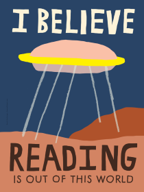 Sarah Neuburger Atlanta Illustrator Illustration UFO Reading I Believe Out Of This World Print Poster Art Library Bookstore