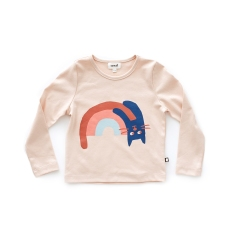 Oeuf FW2017 x Sarah Neuburger Rainbow Cat Light Pink Tee