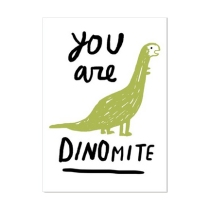 Sarah Neuburger Atlanta Illustrator Hand Lettering Script Dinosaur Postcard U Studio You Are Dinomite